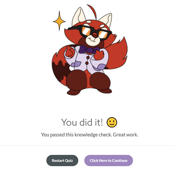an example of the quiz success screen